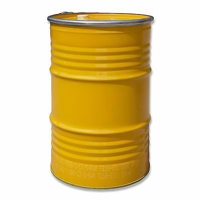 Metal drum with open lid, 213 L, Yellow keg, garden water tank (23023)