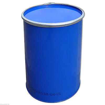 Metal drum with open lid, 213 L, Blue keg, garden water tank (23026)