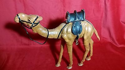 "13"" High Leather Covered Camel Figurine with Saddle and Stirrups"