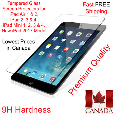Premium Tempered Glass Screen Protector for iPad 2,3,4, Air 1,2 & Mini 1, 2, 3