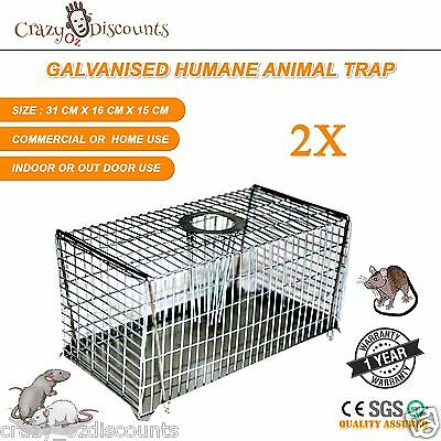 2 x HUMANE RAT TRAP CAGE RODENT PEST ANIMAL MOUSE MICE CONTROL LIVE BAIT CATCH