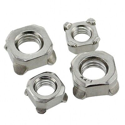 Qty 10 - M6 x 1mm Pitch Square Nuts Welding Nuts 304 A2 Stainless Steel DIN928