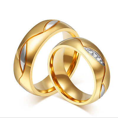Titanium Steel CZ Gold Plated Couple Band Rings Men/Women's Wedding &Engagement