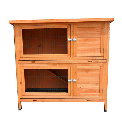 Rabbit Hutch XLARGE 1.2M Two Storey Ferret Guinea Pig Cage Run w Two Trays P045