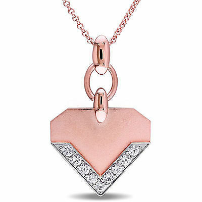 Amour 18k Rose Gold Over Sterling Silver White Sapphire Necklace