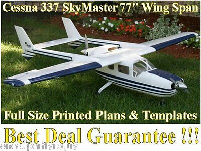 """Cessna 337 Skymaster 77"""" WS Giant RC Airplane Full Size PRINTED Plans & Template"""