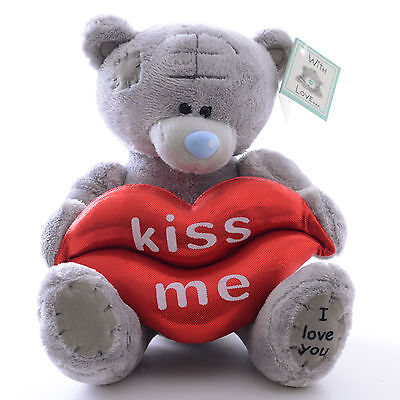 Gray Patch Bear Hold Kiss Me Red Lips Pillow Plush Valentine's  Dolls Toys 6''