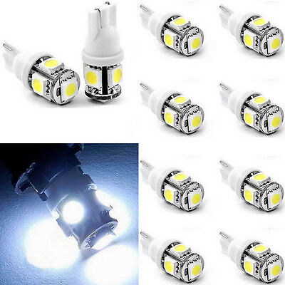 10Pcs Hot Sale T10 5050 W5W 5 SMD 194 168 LED Car Side Wedge Light Lamp Bulb 12V