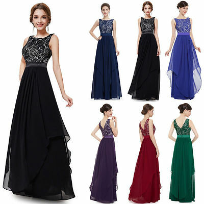 Lace Bridesmaid Prom Ball Gown Formal Evening Party Cocktail Long Maxi Dress AU