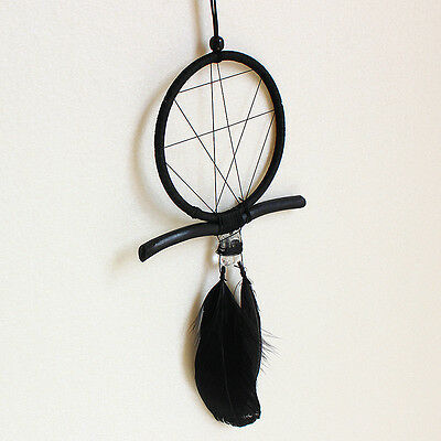 Black Handmade Dream Catcher With Feathers Rhinestone Wall Hanging Decoration
