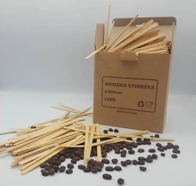 1000 x Wooden Coffee Tea Stirrers  5''140mm For Paper Cups Hot Drinks Stick