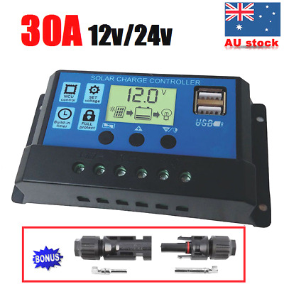 30A LCD PWM Solar Panel Charge Regulator Battery 12V/24V Auto Controller 30AMP
