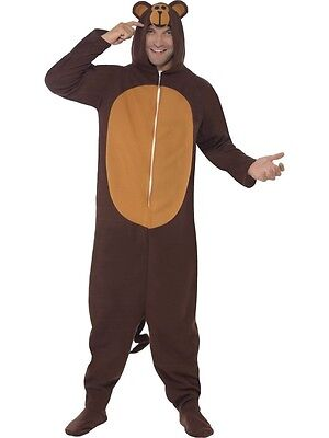 Adult Mens Monkey Fleece All In One Costume Party Animals Fancy Dress - Medium