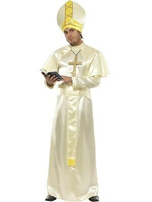 Adult Mens White Pope Robe Costume Saints And Sinners Fancy Dress - Medium