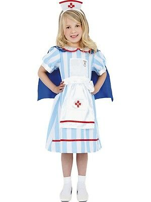 Childrens Girls Vintage Nurse Uniform Outfit Costume Fancy Dress - Small