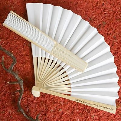 6 X Hand Held Folding Elegant Fan With Thank You Message Wedding & Party Favours