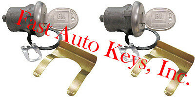 New Pair Gm Buick Oem Door Lock Keyed Cylinder W/2 Oem Gm Logo Keys 608307