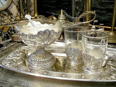 Vintage Silverplated Set of 2 Glasses Sugar Bowl Tray Ornate Antique New