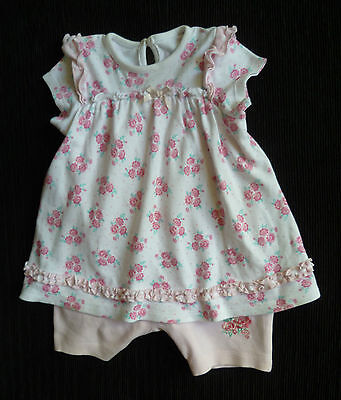 Baby clothes GIRL 6-9m George brushed cotton floral dress/built-in romper pink