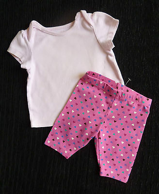 Baby clothes GIRL 6-9m NEW PLACE pink heart short leggings/pink short sleeve top