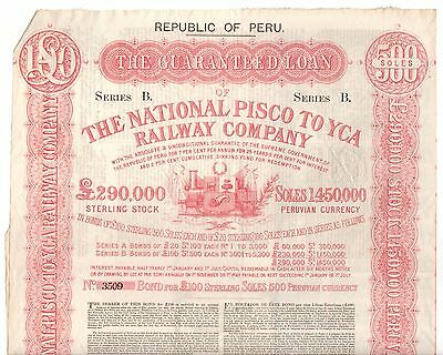 1869 National Pisco to YCA Railway Co. Peru Bond Cert. 3509, Bank of England