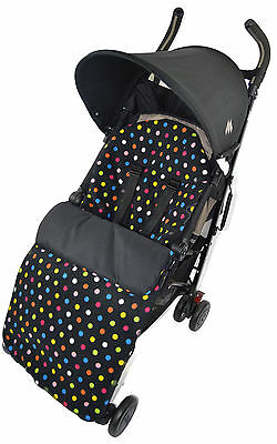 Fleece  Footmuff / Cosy Toes Compatible with Buggy Pushchair Multi Colour Dots