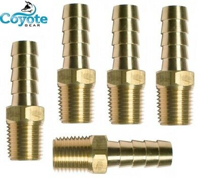 "Ships Free: 5 Pack Brass Fittings: 3/8"" Hose Barb x 1/8"" NPT Male Pipe Thread"