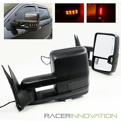 For 2007-2013 Silverado Power/Heated Telescoping Towing Mirrors/Dark Lens Signal