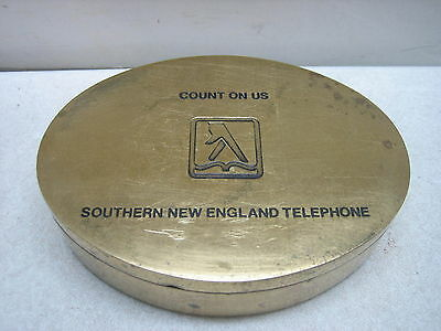 Vint Advertising Southern New England Telephone Yellow Pages Brass Trinket Box