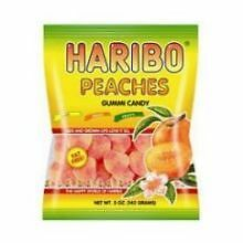 Haribo Peaches Gummy Candy, 5 Ounce -- 12 per case.