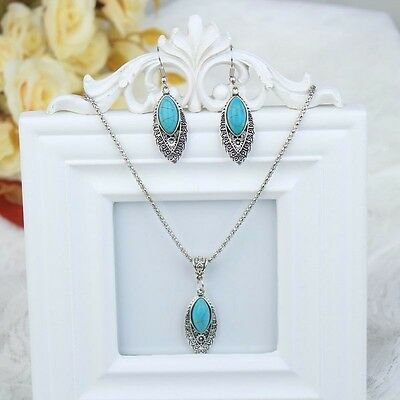 New Silver Plated Chain Turquoise Earrings Necklace Pendant Jewelry Set