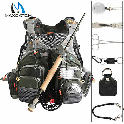 Adjustable Size Mesh Vest Fly Fishing Vest  + Magnetic Release Holder With Cord