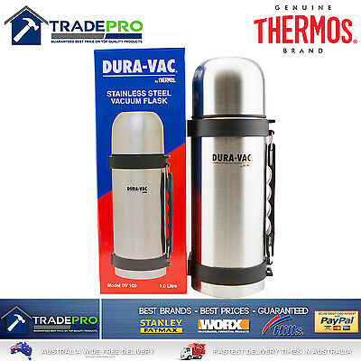 Thermos Flask Stainless Steel 1Ltr Vacuum Insulated Bottle Beverage Food 1Litre
