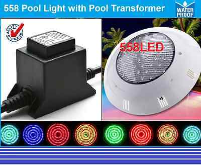 New Powerfull 558 Led Pool Strong Light Rgb 7 Colour Remote +Transformer Package