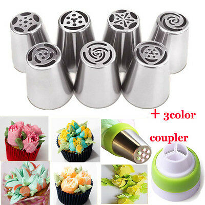 7Pcs Russian Tulip Flower Cake Icing Piping Nozzles Decor Tips Xmas Baking Tools