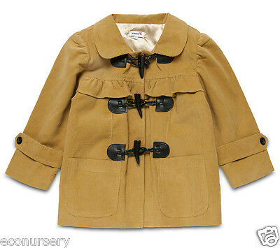 Aurora Royal Girls Beige Corduroy Jacket with toggles. Silky smooth lining.