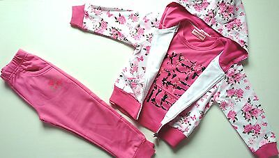 New Girls Tracksuits Floral Retro Vintage Roses Hoodie Top Joggers 3 pcs Outfit