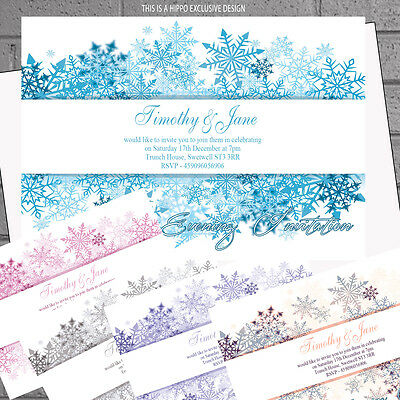 Personalised Snowflake Any Colour Wedding Evening Day Reception Invitesx12 H0725