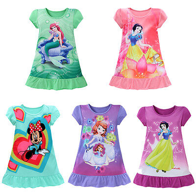 Age 3-10Y Kids Girls Cotton Summer Dress Princess Mermaid Party Skirts Clothes