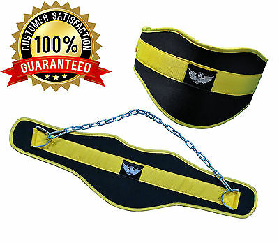 UK Warrior Bodybuilding Dip Belt Dipping Neoprene Pull Up Weight Lifting Gym Fit