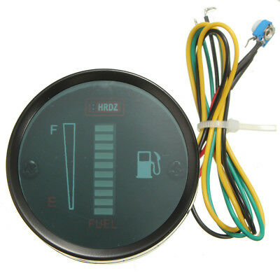"2"" Motorcycle Car Fuel Level Meter Gauge 8 LED Display Green Light 12V PK"