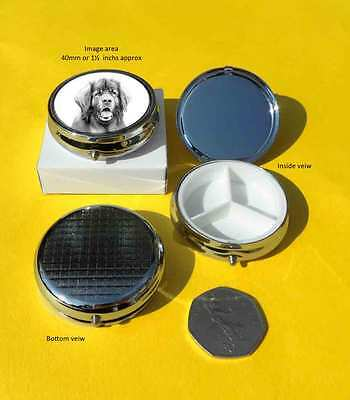 Leonberger Dog Polished Metal Pill Box Gift with three section