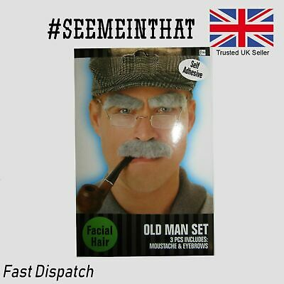 Old Man Fancy Dress Set Rectangle Grey Moustache & Eyebrows Stag disguise hen