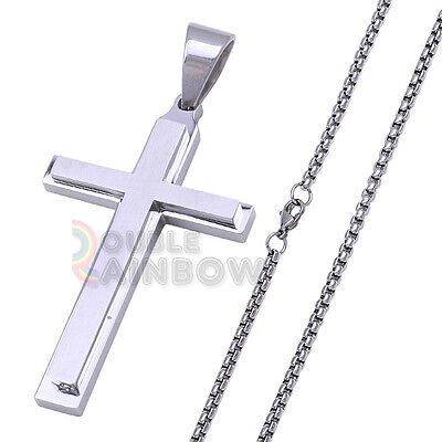 """7P32 16-36""""Men Stainless Steel Silver Cross Pendant BOX Necklace Chain"""