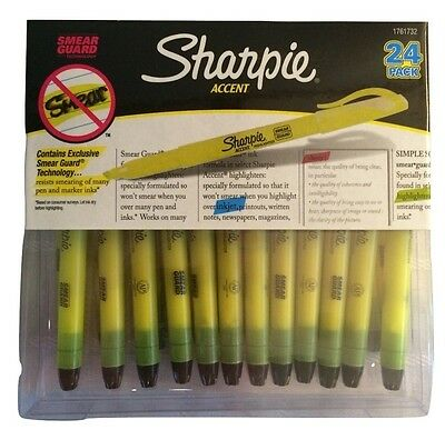 Sharpie Accent Highlighter 24 Pack with Smear Guard - 24 Pack