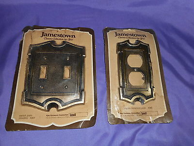 New Vintage Ajax Jamestown 4035 Brass Duplex Receptacle & Double Switch Plate