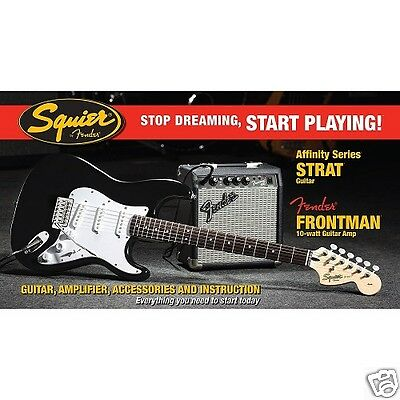 Squier Affinity Pack Strat Nero Con Amplificatore 10G Fender Kit