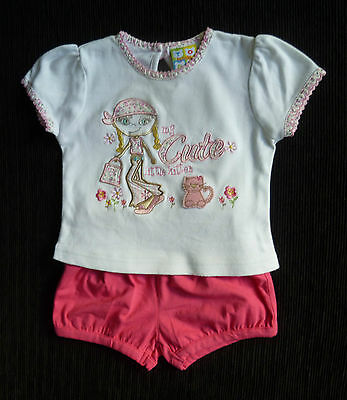 Baby clothes GIRL 6-9m outfit summer bright pink shorts/appliqued top SEE SHOP!