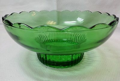 Green Glass Bowl with Scalloped Edges by E.O. Brody Co M2000
