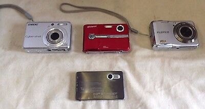 Lot of 4 digital cameras w/4 mem chips all working Fuji Sony Polaroid Hipstreet